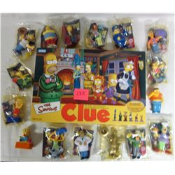 2002  Simpsons clue boardgame & 16 Burger King 2007 Simpson's toys