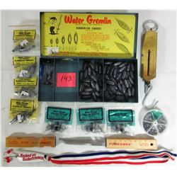 """Metal divided box/ assorted """"Water gremlin"""" rubbercore lead sinkers filleting knife- 50# Portable sc"""