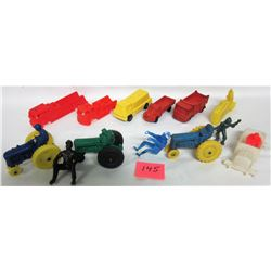 Assorted vintage 1950's & 1960's Auburn Reliable Lido Tomte Hong Kong plastic and rubber Tractors Tr