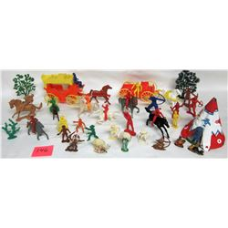 1950's/1960's assorted Lido Marx Timmee MPC Western toys Cowboys Indians Stagecoach Buckboard Horses