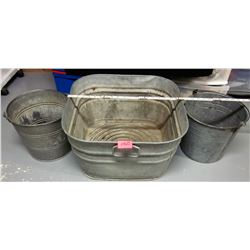 "Galvanized 20"" square Wash Tub / planter & 2 milk pails / metal handles"
