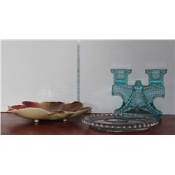 Blue Glass Candle Holder and Candy Dish, Blue Glass Bowl and Green Tooth Pick Holder