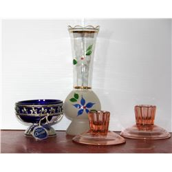 Pink Glass Candle Holder, Vase and Bowl, Small Beater bowl