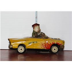Yellow Hotrod Tin Toy Car, Made in Japan, working order