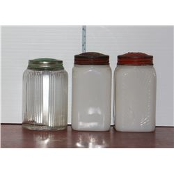 2 Milk Glass and 1 Clear Shaker