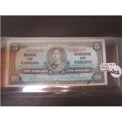 Bank Of Canada $5 Banknote VG-F