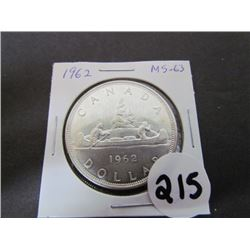 1962 Canadian Dollar MS 63