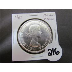 1962 Canadian Dollar MS-62 Cameo