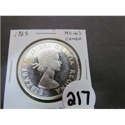 1963 Canadian Dollar MS-63 Cameo