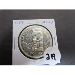 1958 Canadian Dollar -British Columbia MS-63