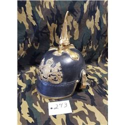 Reproduction of a Bavarian Model 1889 Leather Spiked Pickelhaube Helmet. Just like the German elite