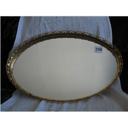 Glass Mirrored Oval Metal Tray  (16 1/2 inches X 10 1/2 inches X 1 3/4 inches )