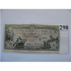 1935 Canadian Bank of Commerce - $10 Banknote - Ser. # 874672