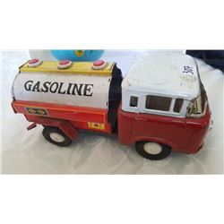 Globe Tin Coin Bank + Gasoline Tin Truck