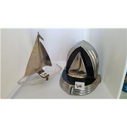 Vintage Sailboat Bookend and Sailboat Ashtray