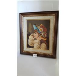 """Framed Ukranian Girl Pettipoint Embroidery 9.5x10.75"""""""