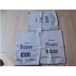 Three Canvas RCM Money Bags: 1 Cent + 5 Cent+25 Cent
