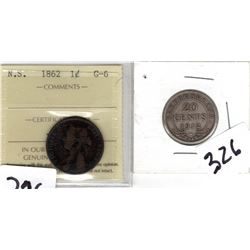 Scarce 1862 Nova Scotia One Cent and 1912 Newfoundland 20 cent piece