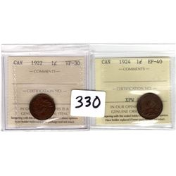 Key and Semi-Key 1922 and 1924 small once cents