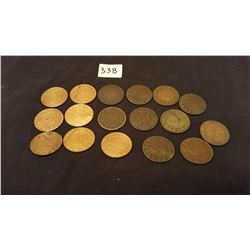 17 Large Cents : Victoria and Edward
