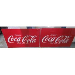2- Coca Cola Advertising Signs- plastic New-36x22