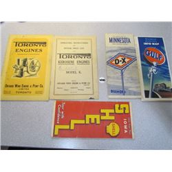 2x Toronto Engine Manuals + 3 Maps-Gulf Wisconsin,D-X Minnesota,Shell Iowa