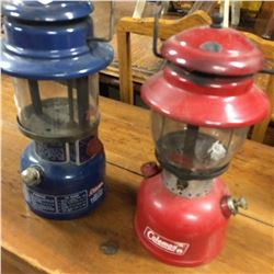 2 Coleman Lamps -Red #200 + Blue 321A