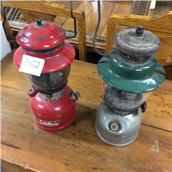 2 Coleman Lamps-Red #200+ Green 242B