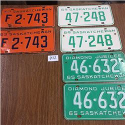 3 Pair of License Plates -1963,1964,1965