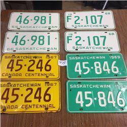 4 Pair of license plates-1966,67,68,69