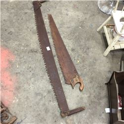"2 Saws 66"" 2 man Crosscut+ 47"" 1 man Saw"