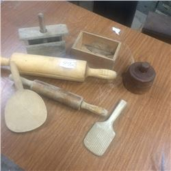 Lot Of Wooden Kitchen Collectibles-Butter Press,Paddles,Rolling Pins,Cheese box