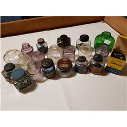 20 Glass Inkwell Bottles