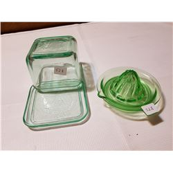 Depression Butter Dish and Juicer Dishes (RARE)