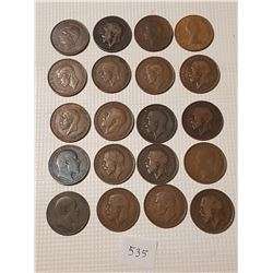 20 British Large Pennies