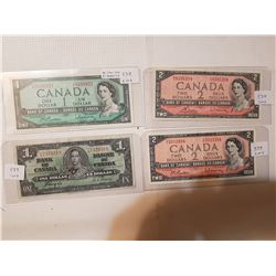 Three 1954 Bills + $1 from 1937 Lot