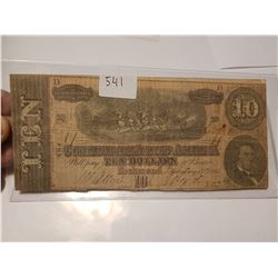 1864 Original $10 Confederate Bank Note
