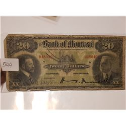 1914 Bank Of Montreal $20 Bank Note
