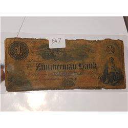 1858 Zimmerman Bank $1 Bank Note Canada