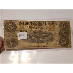 1858 International Bank Of Canada $5 Dollar Bank Note