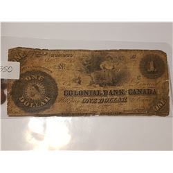 1850 Super Rare $1 Colonial Bank of Canada Note