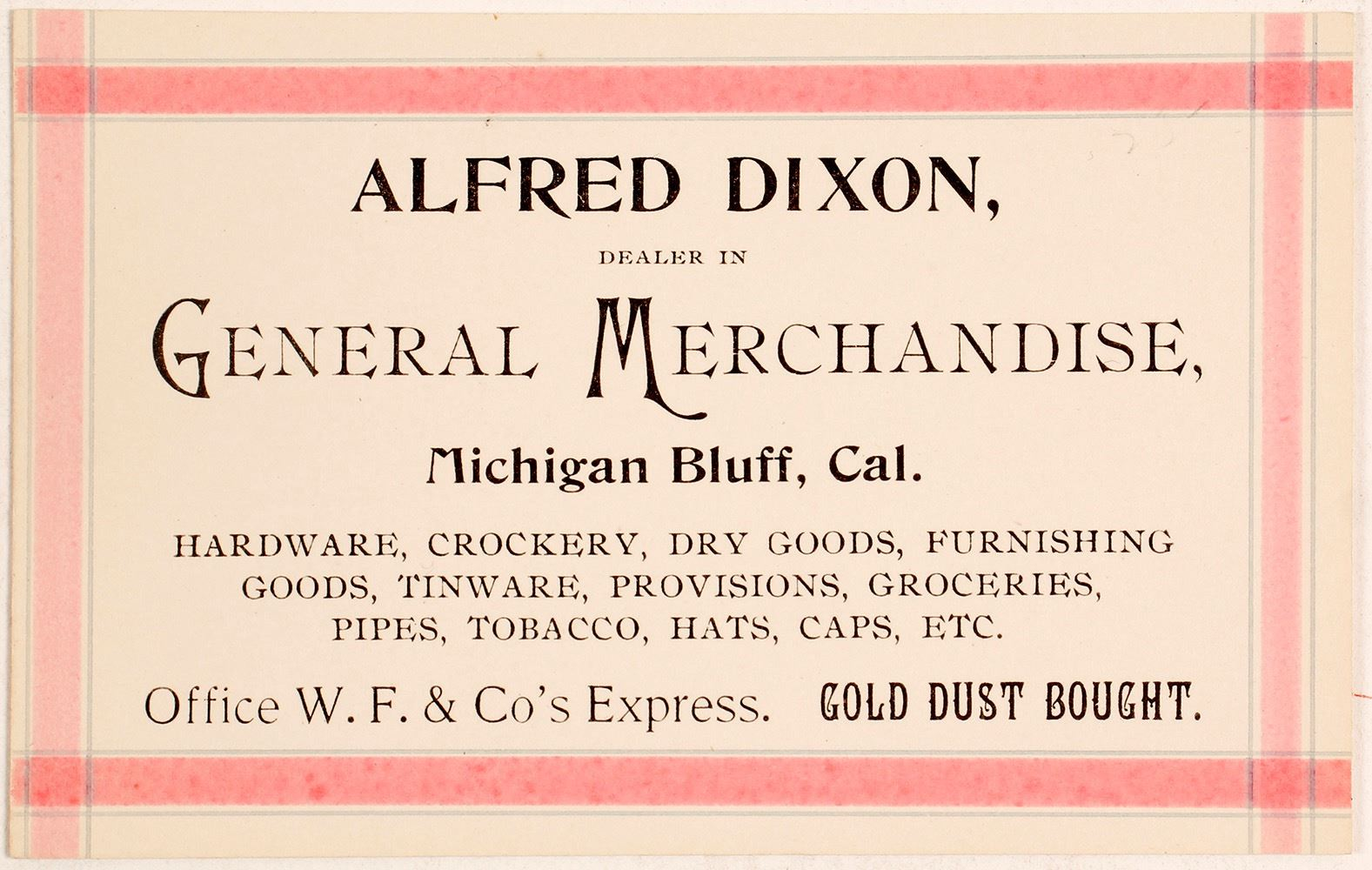 Alfred dixon general merchandise michigan bluff business card image 1 alfred dixon general merchandise michigan bluff business card reheart Image collections