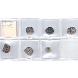 BYZANTINE EMPIRE: LOT of 5 silver follis and 1 glass weight
