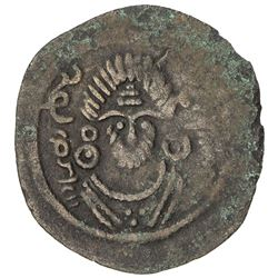 ARAB-SASANIAN: Anonymous, ca. 690-710, AE pashiz (1.15g), Bishapur, ND. F-VF