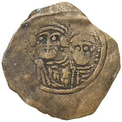 ARAB-SASANIAN: Anonymous, ca. 690-710, AE pashiz (0.41g), NM, ND. F