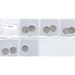 FATIMID: LOT of 9 silver ½ dirhams