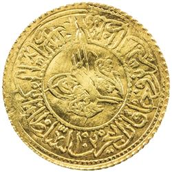 TURKEY: Mahmud II, 1808-1839, AV new rumi altin (2.19g), Kostantiniye, AH1223 year 14. VF