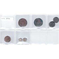 GREAT MONGOLS: LOT of 5 copper coins, anonymous issues struck during the lifetime of Chingiz Khan