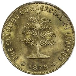 CEYLON: AE token, 1876, Slave Island Mills, Colombo Commercial Co. Limited, PCGS MS65
