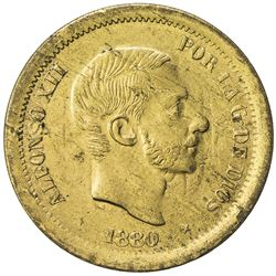 PHILIPPINES: Alphonso XII, 1874-1885, brass 10 centimos pattern, later restrike (ca. 1947) choice AU